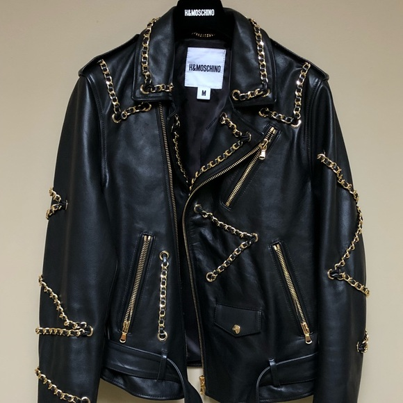 f919976db Moschino Jackets & Coats | Hm X Mens Leather Gold Chain Jacket ...
